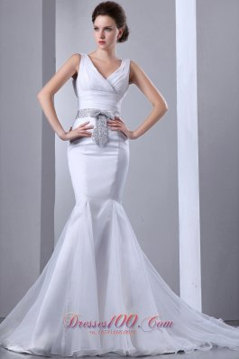 Satin and Organza Mermaid Wedding Gown Court Train V-neck Bow