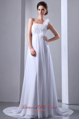 Chiffon One Shoulder Ruched Wedding Dress Princess Court Train
