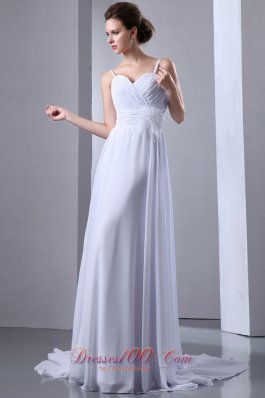 Ruched Chiffon Spaghetti Straps Wedding Gown Court Train