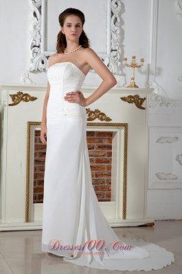 Strapless Chiffon Column Bridal Dress Appliques Court Train