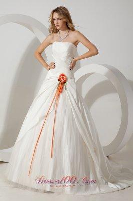 Taffeta Hand Made Flower Bridal Dress Brush Train Strapless