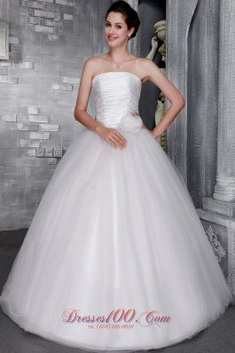 Strapless Hand Made Flower Bridal Gown Princess Floor-length