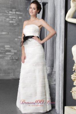 Belt Organza Ruffles Floor-length Bridal Wedding Dress Strapless