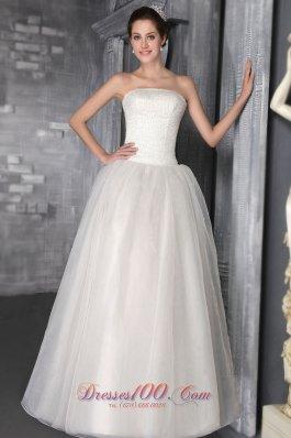 Floor-length Beaded Wedding Dress Strapless Princess Organza