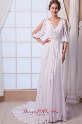 Discount V-neck Chiffon Bridal Gown Court Train Beading Empire