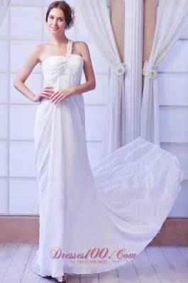 One Shoulder Empire Bridal Dress Chiffon Court Train Beading