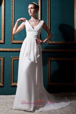 V-neck Brush Train Empire Wedding Bridal Dress Ruched Chiffon