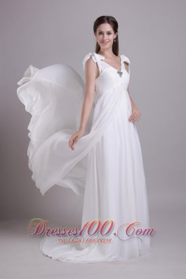 Chiffon Empire Bridal Wedding Gown Beading V-neck Brush Train
