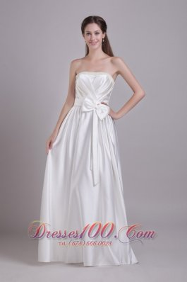 Taffeta Strapless Wedding Bridal Gown Beading and Bowknot