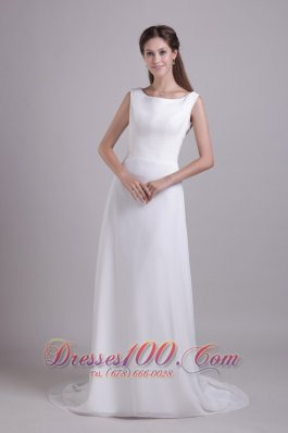 Scoop Neck Floor-length Wedding Gown Chiffon Brush Train Beading