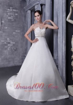 Strapless Satin Bridal Wedding Dress Chapel Train Beading Princess