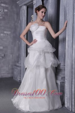 Organza and Taffeta Handle Flower Wedding Bridal Dress Strapless