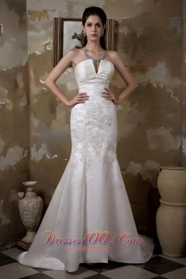 Strapless Mermaid Satin Bridal Gown With Court Train Appliques