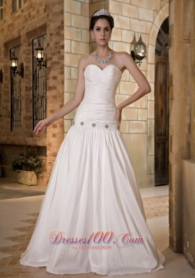 Princess Sweetheart Floor-length Wedding Dress Taffeta Beading