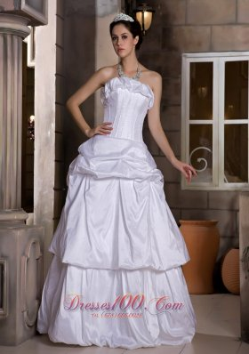 Princess Strapless Bridal Wedding Dress Taffeta Pick-ups