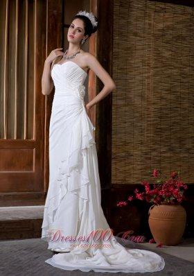 Column Sweetheart Wedding Dress Court Train Chiffon Ruch