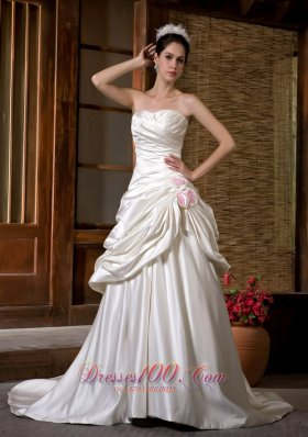 Chapel Train Strapless Wedding Gown Ruch Hand Made Flowers Satin