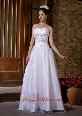 Sweetheart A-line Taffeta and Tulle Bridal Dress Appliques Ruch
