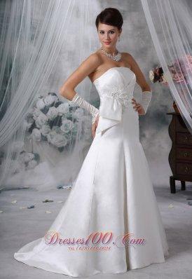 Satin Brush Train Bridal Dress Appliques With Beading
