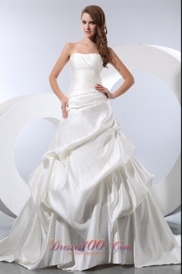 Strapless Chapel Train Wedding Bridal Dress Satin and Taffeta