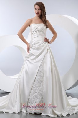 A-line Strapless Ruched Bridal Wedding Gown Chapel Train Satin