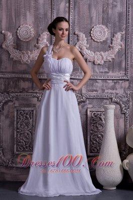 One Shoulder Chiffon Wedding Dress Empire Ruch Court Train