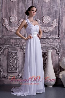 Chiffon Wedding Dress One Shoulder Empire Court Train Ruch