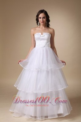 Satin and Organza Layers Bridal Dress Strapless A-line