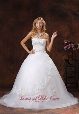 Chapel Train Bridal Dress Strapless Appliques and Beading