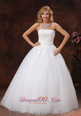 Appliques Strapless Ball Gown Floor-length A-line Wedding Dress
