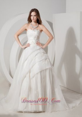 Sweetheart Appliques A-line Bridal Gown Court Train Organza