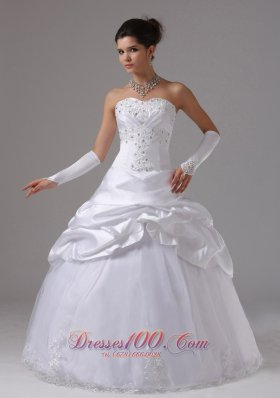 Appliques and Pick-ups Wedding Dress Taffeta And Tulle