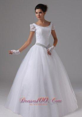 Short Sleeves Ball Gown Scoop Neck Bridal Wedding Dress