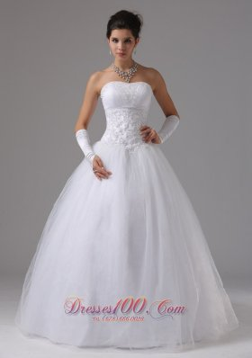 Strapless A-line Wedding Gown With Lace Beading Tulle