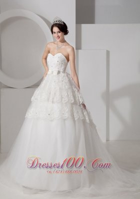 Sweetheart Tulle A-line Bridal Gown Court Train Sash and Beading