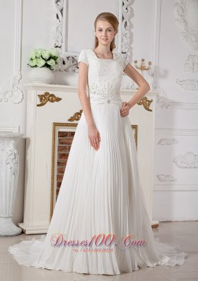 Square Short Sleeves Beading Wedding Dress Chiffon Court Train