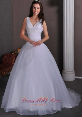 Ruch Beading Bridal Dress Taffeta and Tulle V-neck Court Train