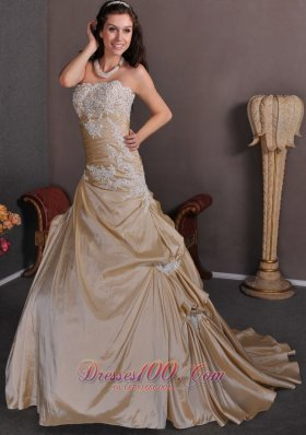 Strapless Champagne Wedding Gown Appliques Taffeta Chapel Train