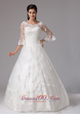 V-neck 3/4 Sleeves A-line Lace Decorated Wedding Dress In Tulle