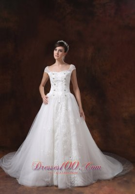 Square Straps A-line Appliques Wedding Gown Chapel Train