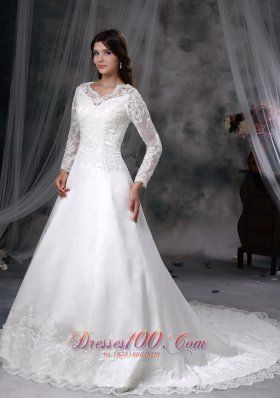 Chapel Train Satin and Lace Bridal Dress A-line V-neck