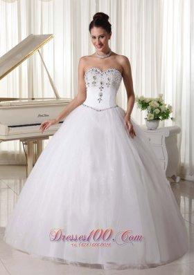 Sweetheart Organza Beaded Bridal Wedding Dress Ball Gown