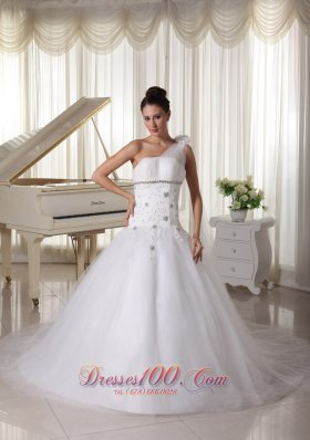 Appliques and Beading One Shoulder Wedding Gown Watteau Train