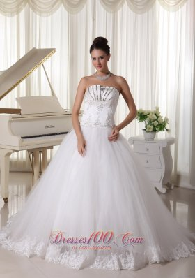 Strapless Satin and Tulle Beaded Sweep Train Bridal Gown
