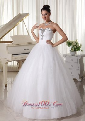Satin and Tulle Sweetheart Beaded Wedding Dress A-line