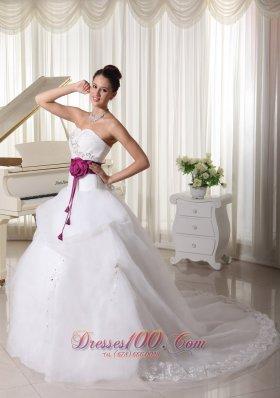 Organza Sweetheart Weding Gown Handle Flowers Belt Court Train