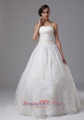Tulle Ball Gown Sweetheart Bridal Dress Ruched Appliques