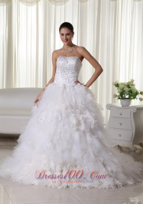 Chapel Train Strapless Embroidery Wedding Dress Satin and Organza