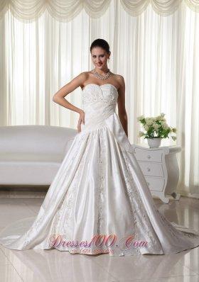 Sweetheart Satin Wedding Dress Embroidery A-line Chapel Train