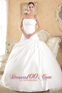 Strapless Tulle and Taffeta Bridal Dress Court Train Beading